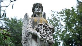 Figure of angel as symbol of sorrow at graveyard stock video footage