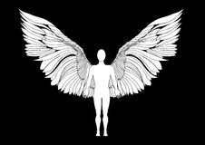Figure of an angel on black background Stock Photos