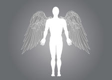 Figure of an angel man. Vector illustration on grey background Royalty Free Stock Photography