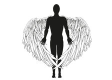 Figure of an angel. Vector illustration. Black and white graphic Royalty Free Stock Image