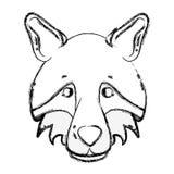 Figure animal sauvage de tête mignonne de loup Images libres de droits