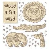 Figure animali di legno Giocattoli amichevoli di Eco Fotografia Stock Libera da Diritti