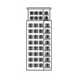 Figure apartment building line sticker. Illustration icon Stock Images