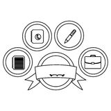 Figure apps technology buttons with emblem and ribbon. Illustration Royalty Free Stock Photo