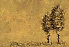 figure arbres de feuille de parchemin Photo libre de droits
