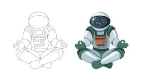 Figure of the astronaut sitting in Buddha pose. Meditation in space isolated vector illustration