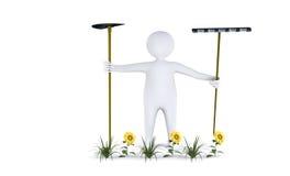 Figure avec des outils de jardin Photographie stock libre de droits