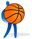 Figure with ball. Illustration of blue figure with huge basketball Vector Illustration