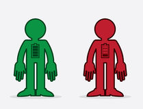 Figure Battery. Isolated figures with full and empty battery icons Stock Photography