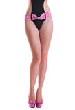 The figure of a beautiful girl in a bathing suit Royalty Free Stock Photos