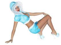 Figure of beautiful sexy Snow Maiden. 3D figure beautiful sexy Snow Maiden with short blue skirt and blouse with fur collar. Luxurious girl body. Blond hair and Royalty Free Stock Photos