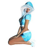 Figure of beautiful sexy Snow Maiden. 3D figure beautiful sexy Snow Maiden with short blue skirt and blouse with fur collar. Luxurious girl body. Blond hair and Royalty Free Stock Images