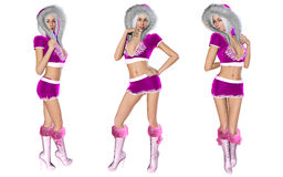 Figure of beautiful sexy Snow Maiden. 3D figure beautiful sexy Snow Maiden with short lilac skirt and blouse with fur collar. Luxurious girl body. Blond hair Stock Images