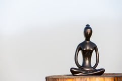 Figure of beautiful young girl meditating and do yoga on wooden surface. With empty space for text Royalty Free Stock Photo