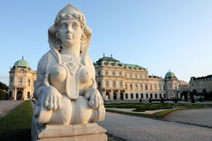Figure at Belvedere, Vienna. Stone statue at the Belvedere Garden in Vienna in the soft evening light Royalty Free Stock Photos