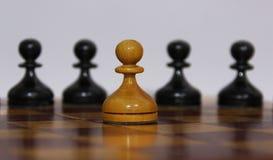 Figure in bianco e nero di scacchi Fotografie Stock Libere da Diritti