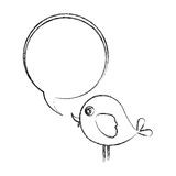 Figure bird with chat bubble icon Stock Images