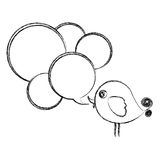 Figure bird with many chat bubbles icon Stock Images