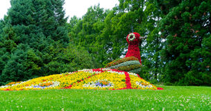 The figure of a bird& x27;s fire made of flowers. stock image
