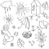 Figure with birds. The drawing is made in the child style. Can be used as a pattern, background or Valentine Stock Image
