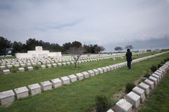 Figure in black reading gravestones, Gallipoli Stock Photo