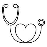 Figure black sticker stethoscope with heart icon. Illustraction design Stock Images