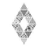 Figure of black and white diamond-shaped triangles with different pictures. Abstract figure of black and white diamond-shaped triangles with different pictures Stock Photo