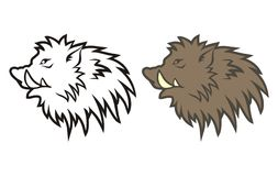 Figure boar's head. Figure heads of wild boar in the form of tattoos Royalty Free Stock Photography
