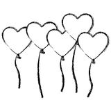 Figure bolloons hearts forms icon Stock Image