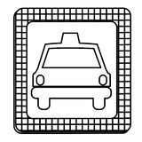 Figure border taxi front car icon Stock Image