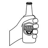 Figure bottles of beer in the hand icon design. Illustration Royalty Free Stock Photography
