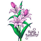 Figure bouquet of pink lilies. Figure bouquet of pink lily, happy birthday, vintage card Royalty Free Stock Photos