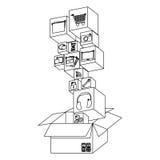 Figure box with color symbols icon. Illustraction design Stock Photography