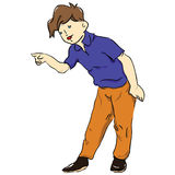 Figure-boy. The boy in blue T-shirt shows the direction of the finger. Vector illustration Stock Photography