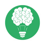 Figure brain bulb icon design. Illustration image Royalty Free Stock Photography