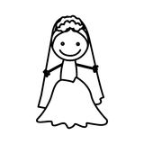 Figure bride with her dress icon Royalty Free Stock Photography