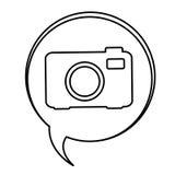 Figure bubbles with camera symbol icon Stock Photo