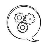 Figure bubbles with gears symbol icon Royalty Free Stock Photography