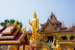 Figure of Buddha and Buddhist palace Stock Photos