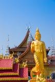 Figure of Buddha and Buddhist palace Stock Photography