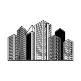 Figure buildings and city scene icon image. Figure buildings and city scene line sticker,  illustration Royalty Free Stock Photo