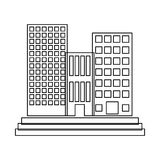 Figure buildings and city scene line sticker. Illustration Royalty Free Stock Photo