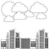 Figure builds with cloud and sun icon. Illustraction design Stock Image