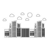 Figure builds with small cloud and sun. Illustraction design Royalty Free Stock Images