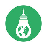 Figure bulb planet environmental design. Illustration Royalty Free Stock Photos
