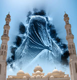 Figure in Burqa in Sky Above El Mina Masjid Mosque Stock Images