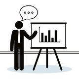 Figure businessman with paperboard training. Vector illustration design Royalty Free Stock Photo