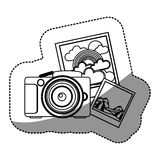 Figure camera with pictures icon Stock Image