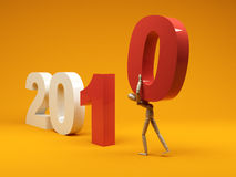 Figure carrying the last number. 2010 New year concept - Figure carrying the last number Stock Photo