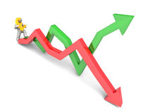 Figure carrying pound sign. 3D rendering of a figure carrying a golden pound sign while stepping on stock market trend lines Royalty Free Stock Photo